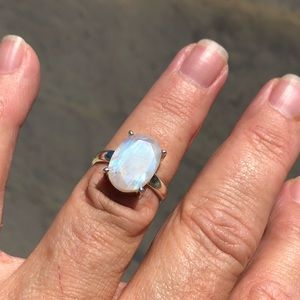 Jewelry - Moonstone Faceted Sterling Silver Ring Sz 7.5
